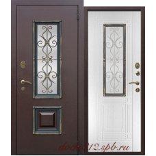 Металлическая дверь с ковкой Венеция 8см Белый ясень