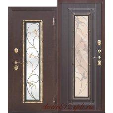 Дверь входная с ковкой Цитадель Плющ Венге