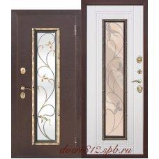 Дверь входная с ковкой Цитадель Плющ Белый Ясень