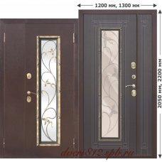 Входная дверь с ковкой Плющ 1200*2050, 1300*2050 Венге