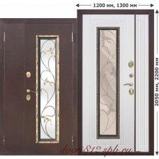 Входная дверь с ковкой Плющ 1200*2050, 1300*2050 Белый ясень