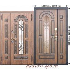Входная дверь Виконт с ковкой и стеклом 1200,1300*2050 мм