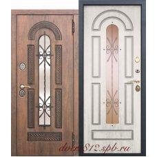 Входная дверь Виконт с стеклопакетом и ковкой Сосна белая