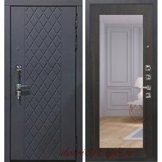 Стальная серая дверь Garga S18 с зеркалом венге