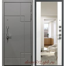 Серая дверь Garga S19 с зеркалом